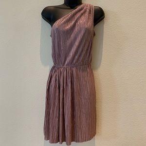 BCBG Generation One Shoulder Rose Gold Dress
